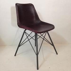 Chaise Industrielle Cuir : chaise industrielle en cuir avec structure metal style eames edition brooklyn mobilier achat ~ Teatrodelosmanantiales.com Idées de Décoration