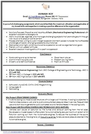 sle resume format for mechanical engineering freshers