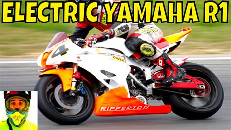 210kw Racing Electric Yamaha R1 Vs Petrol Bikes (race