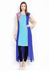 Embroidered Georgette Asymmetric Tunic in Blue  TUZ9