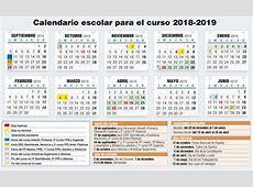 Calendario Escolar 201819 las vacaciones del segundo