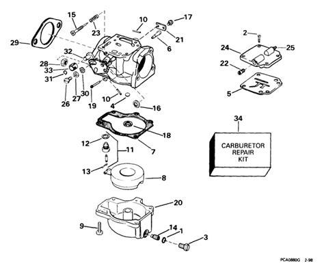 johnson carburetor parts for 1999 40hp j40jpleec outboard motor