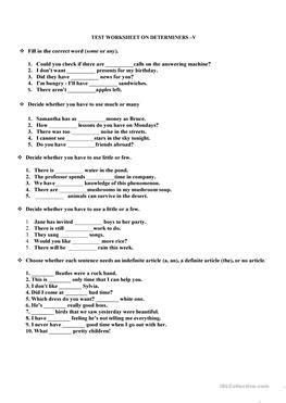 esl determiners worksheets