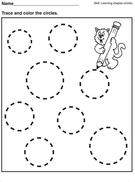 tracing circle worksheets  preschool activity shelter