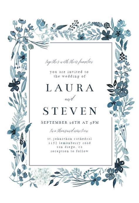indigo flower border wedding invitation template