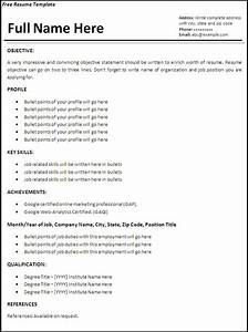 Employment curriculum vitae sample resume cv template for Free job resume