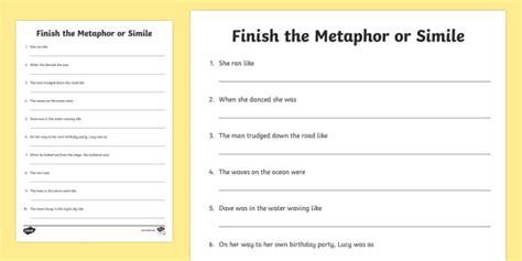 finish the metaphor or simile worksheet activity sheet