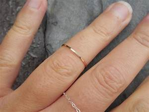 Skinny ring hammered 14k yellow gold filled stacking for Wedding band engagement ring order