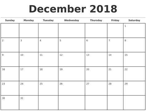 2018 Monthly Calendar Template December 2018 Monthly Calendar Template