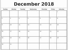December 2018 Monthly Calendar Template