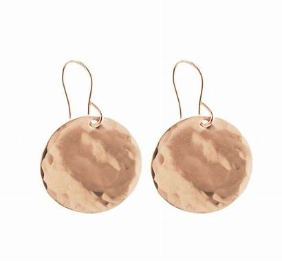 Hammered Earrings Gold Disc Rose Silver Jewellery