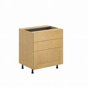 Eurostyle Ready To Assemble 30x345x245 In Milano 3 Drawer Base Cabinet In Maple Melamine And