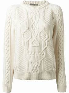 Alexander mcqueen Skull Cable Knit Sweater in White | Lyst