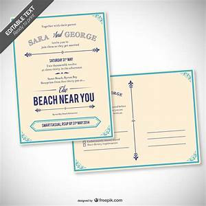 retro editable wedding invitation vector free download With beach wedding invitations vector