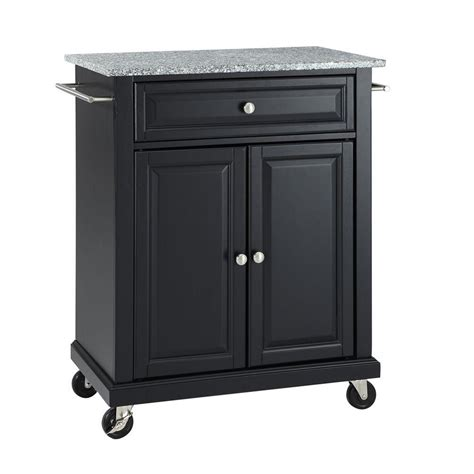 kitchen islands home depot crosley 28 1 4 in w solid granite top mobile kitchen island cart in black shop your way