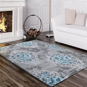 designer teppich vintage blumen turkis design teppiche With balkon teppich mit blumen tapete retro