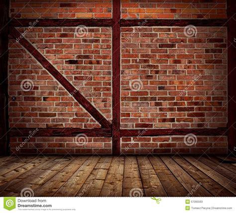 Vintage Brick Wall And Wood Floor Interior Stock Image