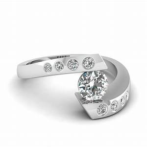 tension set diamond engagement ring in 950 platinum With tension set engagement ring with wedding band