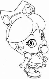 Coloring Peach Princess Printable Popular Mario sketch template