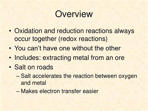Ch. 5 Oxidation And Reduction Powerpoint Presentation