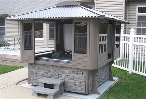 Hot tub enclosures can be placed around the hot tub to protect it from the elements so that you can enjoy the hot water in privacy and comfort. Tubtop Gazebos - North Shore Pool & Spa