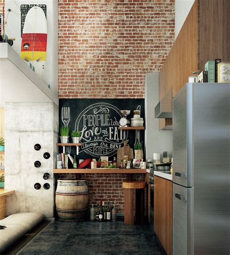 compact loft apartment  high ceiling creates extra