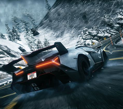 Lamborghini Venevo Winter Road Drift Desktop Wallpaper