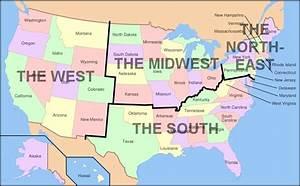 Nord West Ost Süd : us karte nord s d ost west regionalen karte usa ~ Markanthonyermac.com Haus und Dekorationen