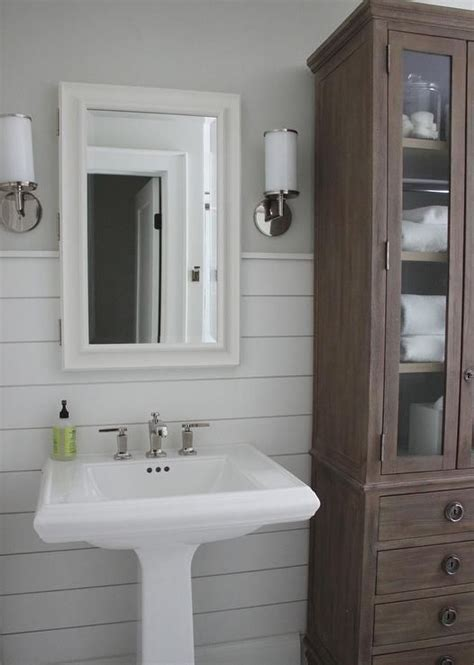 White Shiplap Bathroom by Beautiful Bathroom Features Walls Painted Gray And