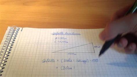 gefaelle berechnen formel und beispiel youtube