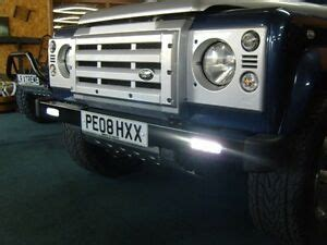 land rover defender front bumper with daytime running lights and bumper end caps ebay