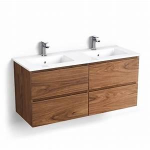 Meuble Vasque Bois Salle De Bain : meuble salle de bain 121 cm bois noyer double vasque cordoue ~ Teatrodelosmanantiales.com Idées de Décoration