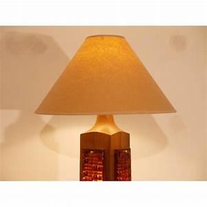 Lampe A Poser Scandinave : grande lampe vintage scandinave bois verre 1960 la maison retro ~ Melissatoandfro.com Idées de Décoration
