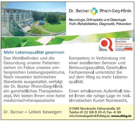 Rhein Sieg Klinik In Nümbrecht by Kur Und Rehabilitation N 252 Mbrecht Dr Becker Rhein Sieg