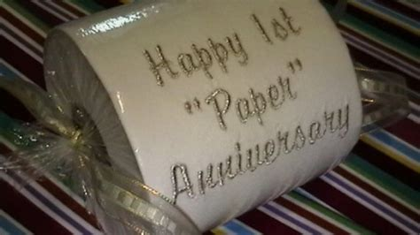 happy st paper anniversary embroidered toilet paper gift