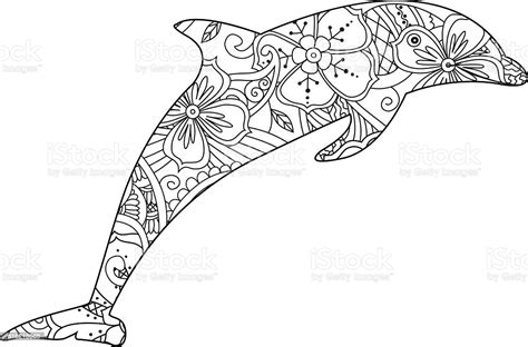 coloring page  dolphin isolated  white background stock illustration  image