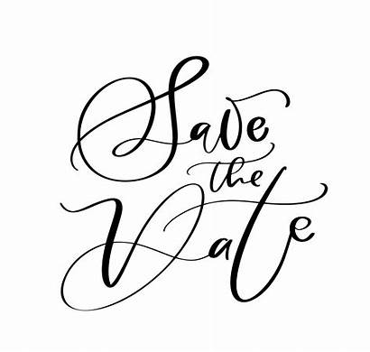Date Save Calligraphy Text Lettering Vector Card