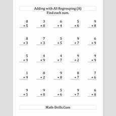 25 Singledigit Addition Questions All With Regrouping (a