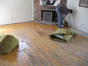 How to remove old carpet padding from hardwood floors for How to dry wet wood floor