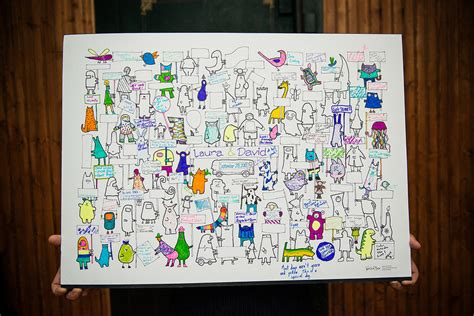 Have Guests Color In This Cartoon Character Guestbook