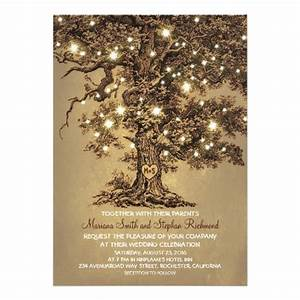 vintage string lights tree rustic wedding invites 5quot x 7 With wedding cards with trees
