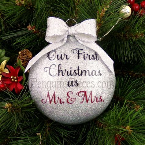 personalized our first christmas married glitter by