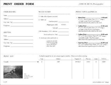Order Resume Prints by Photography Order Form Best Resumes
