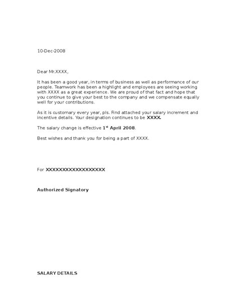 salary increase letter template from employer to employee sle salary increment letter from employer free