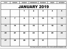 Blank January 2019 Calendar Printable Format Qualads