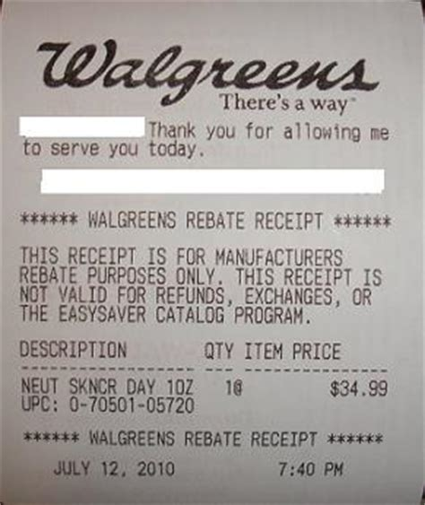 getting a rebate receipt at walgreens