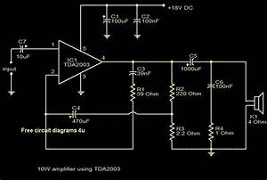 Free Circuit Diagrams 4u  10w Amplifier Using Tda2003