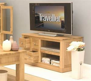Mobel Oak Four Drawer Television Cabinet Entertainment