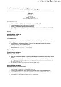 entry level information technology resume sles sle of entry level information technology resume how to entry level