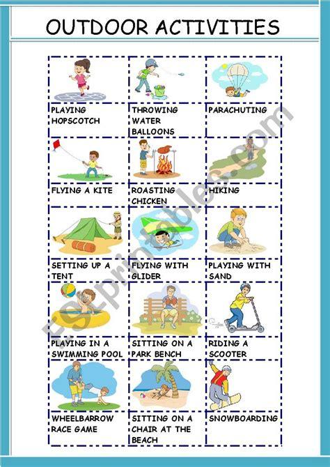 outdoor activities esl worksheet  gemaherlo